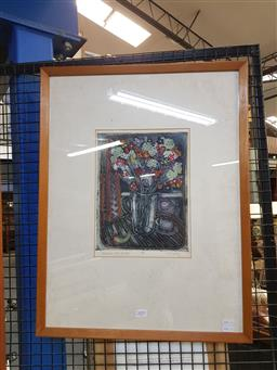 Sale 9155 - Lot 2095 - S. W Cowlee Interior with Flowers, handcoloured etching, frame: 63 x 48 cm, signed lower right -