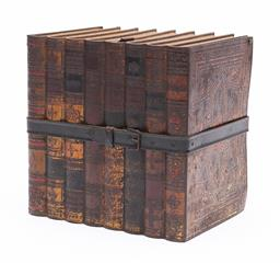 Sale 9170H - Lot 10 - A vintage Huntley & Palmer biscuit tin, c.1901, in the form of eight leather bounds books, Height 16cm x 16.5cm x 12cm