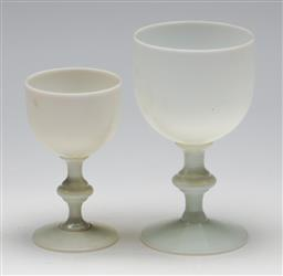 Sale 9254 - Lot 2411 - A graduated pair of vintage American milkglass footed wine glasses (H:14.5cm)