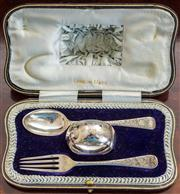Sale 8284A - Lot 74 - An English hallmarked sterling silver christening set engraved with strawberries in original presentation case. Robert Stebbings, Lo...