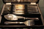 Sale 8327 - Lot 60 - Silver Plated Fish Cutlery in Case