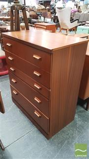 Sale 8395 - Lot 1014 - McIntosh Teak Chest of Five Drawers