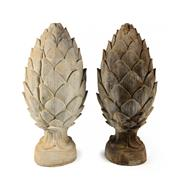 Sale 8422A - Lot 34 - A pair of large cast stone acorn garden finials, some small chips/wear, 54cm tall