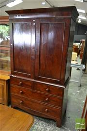 Sale 8500 - Lot 1018 - Regency Mahogany Press on Chest with Two Cross Banded Doors above Four Drawers and Bracket Feet (2 x Keys in Office)