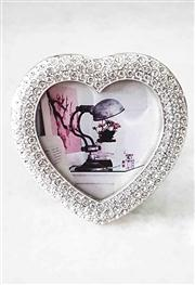 Sale 8577 - Lot 15 - A heart shaped clear Swarovski crystal photo frame, W 6 x H 6cm