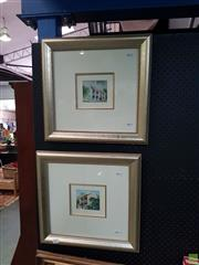 Sale 8622 - Lot 2075 - Diana Lane (2 works) - Paddington Terrace houses 9 x 10.5cm, each (frame size: 44 x 45cm, each)