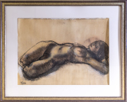 Sale 8677B - Lot 833 - Ming Mackay, nude study, mixed media on conte paper, 53cm x 74cm