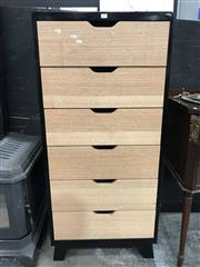 Sale 8809 - Lot 1009 - Black Painted Timber Tallboy with Six Raw Finished Drawers