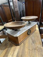 Sale 8876 - Lot 1015 - Set of Vintage Scales with Marble Top & Two Timber Plates