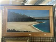 Sale 8895 - Lot 2024 - Roy Shute - Greenfields Beach, Jarvis Bay, NSW oil on board 32 x 59 cm, signed lower left