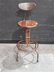 Sale 8901F - Lot 1017 - Set of 4 Metal Industrial Stools with Timber Seats