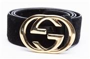 Sale 9010H - Lot 88 - A black suede Gucci belt with GG clasp, Size 90-36 total Length incl buckle 115cm