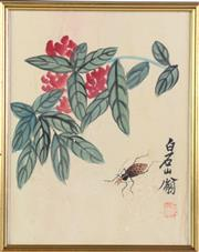 Sale 8948 - Lot 38 - A Framed Chinese Picture of Flowers (25cm x 31cm)