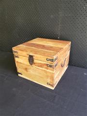 Sale 8996 - Lot 1031 - A Rustic Style Timber Lift Top Box (H: 25 x D: 33cm)