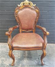 Sale 8996 - Lot 1048 - French Style Leather & Timber  Armchair (H: 109 x W: 63 x D: 62cm)