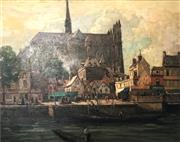 Sale 9016A - Lot 5004 - Henry Hanke (1901 - 1989) - The Market Place at Cathedral, Amiens, France 70 x 90 cm