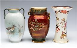 Sale 9098 - Lot 265 - Group of Three Ceramic Vases incl. Crown Devon, Royal Doulton, and Masons (Tallest- H:15.5cm)