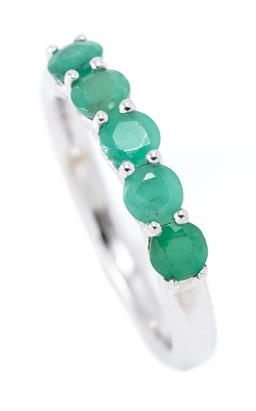 Sale 9177 - Lot 330 - A SILVER EMERLAD RING; set across the top with 5 round cut emeralds, width 3.5mm, size L. wt. 2.54g.