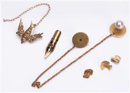 Sale 9180E - Lot 88 - A collection of gold items in varying carats, total combined weight 6.99g
