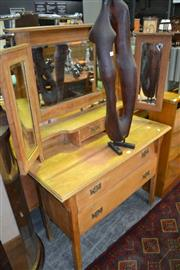 Sale 8115 - Lot 1099 - Oak Dressing Table w Bevelled Edge Mirror Back, Winged Mirrors & 2 Drawers