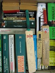 Sale 8200A - Lot 3007 - Box of Cricket Books with some signed mini bats