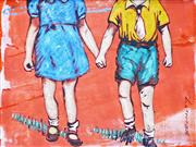 Sale 8683A - Lot 5116 - David Bromley (1960 - ) - Holding Hands 21 x 28cm
