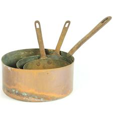 Sale 8351A - Lot 87 - Set of Three Graduated French Copper Saucepans diameter 12-18cm depth 5-8cm(approx weight 1.5kg)