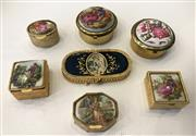 Sale 8436A - Lot 33 - A group of seven pill boxes, many Italian, in gold tone, some engraved, all decorated with scenes of a classical nature