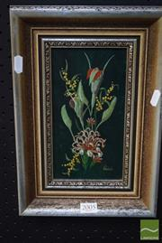 Sale 8530 - Lot 2005 - Val Nixon, Greenhood & Gray Spider Flower, acrylic, 11x21cm