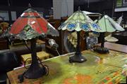 Sale 8550 - Lot 1207 - Set of Three Leadlight Table Lamps