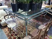 Sale 8601 - Lot 1064 - Metal based Glass Top Coffee table (H: 46 L: 120 W: 120cm)