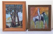 Sale 8677B - Lot 834 - Mrs E Ferry, Treescape, oil on board, 40cm x 29cm together with H Nino, oil on canvas, horse and rider,