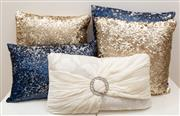Sale 8770A - Lot 57 - Four sequined midnight blue and gold scatter cushions, with another (5)
