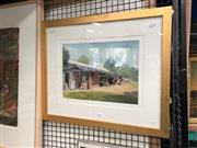Sale 8797 - Lot 2105 - Allan Waite - The Machinery Shed, watercolour, SLL