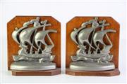 Sale 8905 - Lot 98 - A Pair of Vintage Ship Themed Bookends (one base A/F)