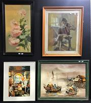Sale 8945 - Lot 2089 - 3 Works: Early C20th Floral oil painting, together with painting of Junk Ships and a reproduction Arnotts Advertisement Print