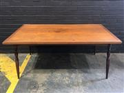 Sale 9006 - Lot 1080 - Timber Dining Table on Turned Legs (H:71 x W:159 x D:84cm)