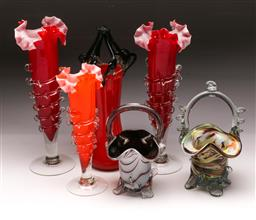Sale 9098 - Lot 195 - Collection of Coloured Glassware incl. Ruffled Rim Vases & Basket Examples