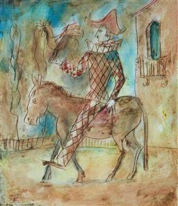 Sale 9109A - Lot 5081 - Artist Unknown (Italian School) Harlequin on Donkey, 1996 mixed media 25.5 x 22 cm (frame: 46 x 40 x 3 cm) signed and dated lower left