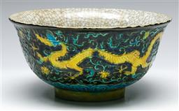 Sale 9138 - Lot 109 - A Large Chinese Crackle Glazed Bowl With Dragon Decoration (Dia 22cm H 11cm)