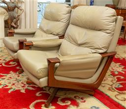 Sale 9164H - Lot 56 - A pair of mid-century rosewood and teak armchairs with leather upholstery in grey, Height of back 85cm x Width 67cm