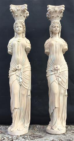 Sale 9175G - Lot 10 - Pair of Impressive Carved Pink Marble Caryatid Columns Depicting Female Figures .Each Column Consist Of 2 Pieces (Capital Top,Column...