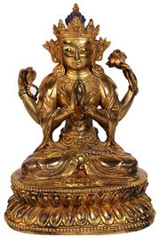 Sale 7981B - Lot 19 - FINE CHINESE GILT BRONZE FIGURE OF AVALOKITESHVARA SADAKSRI, YONGLE MARK in Tibeto-Chinese style, with fine serene facial features...