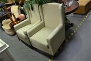 Sale 8046 - Lot 1078 - Pair of Green Upholstered Armchairs