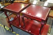 Sale 8105 - Lot 1042 - Pair of Timber Side Tables w Piecrust Edges