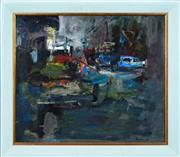 Sale 8316 - Lot 598 - Ingrid Haydon (XX) - Night Wharf, 1994 60.5 x 71cm