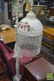 Sale 8341 - Lot 1051 - Glass Beaded Hanging Shade Standard Lamp