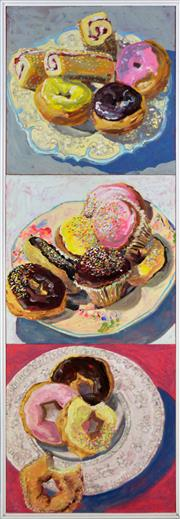 Sale 8389 - Lot 553 - Lucy Culliton (1966 - ) - Donuts, 2000 (triptych) 120 x 40cm, overall (40 x 40cm, each)