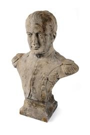 Sale 8422A - Lot 40 - A large cast stone garden bust of Napoleon Bonaparte, minor wear to back/side of head, height 72cm