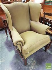 Sale 8444 - Lot 1038 - George III Style & Probably Period Mahogany Wingback Armchair, upholstered in green studded fabric & on square legs (frame loose / u...